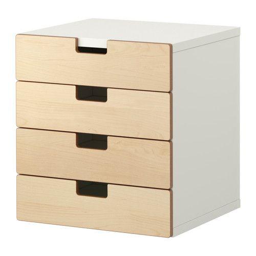 Rangement qui s'intègre sous le bureau  STUVA Rangement avec tiroirs - blanc/bouleau - IKEA 139,00$ 25 po de haut