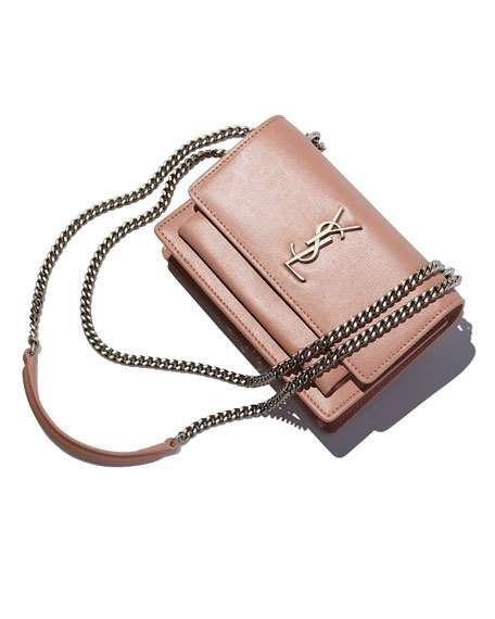 74d2c987de Saint Laurent Sunset Monogram Small Calf Leather Wallet on Chain ...