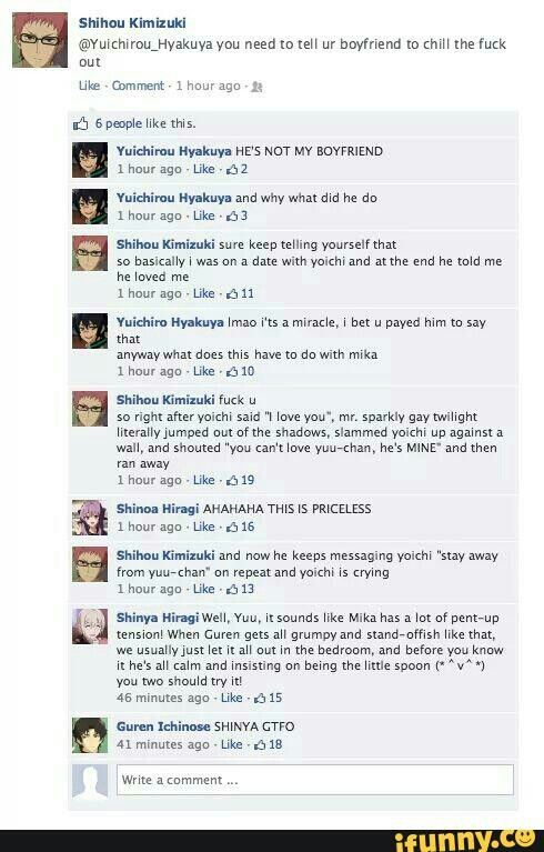 """""""Mr. Sparkly gay twilight""""  poor Mika. And poor Yoichi xD"""