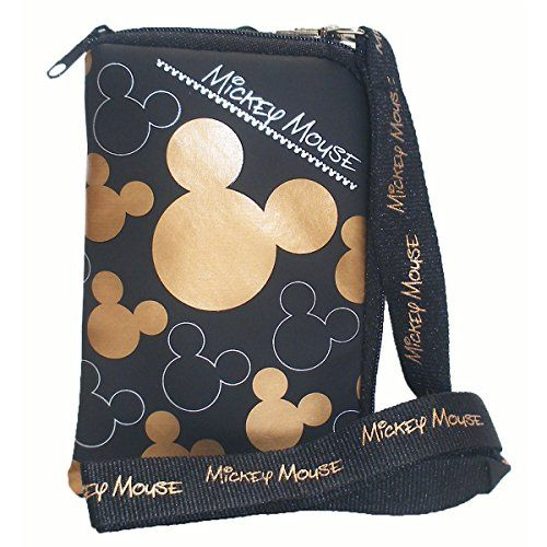 Dress-Up Toy Purses - Disney Mickey Mouse Black Gold Lanyard with Cell Phone Case or Coin Purse 1 Lanyard -- For more information, visit image link.