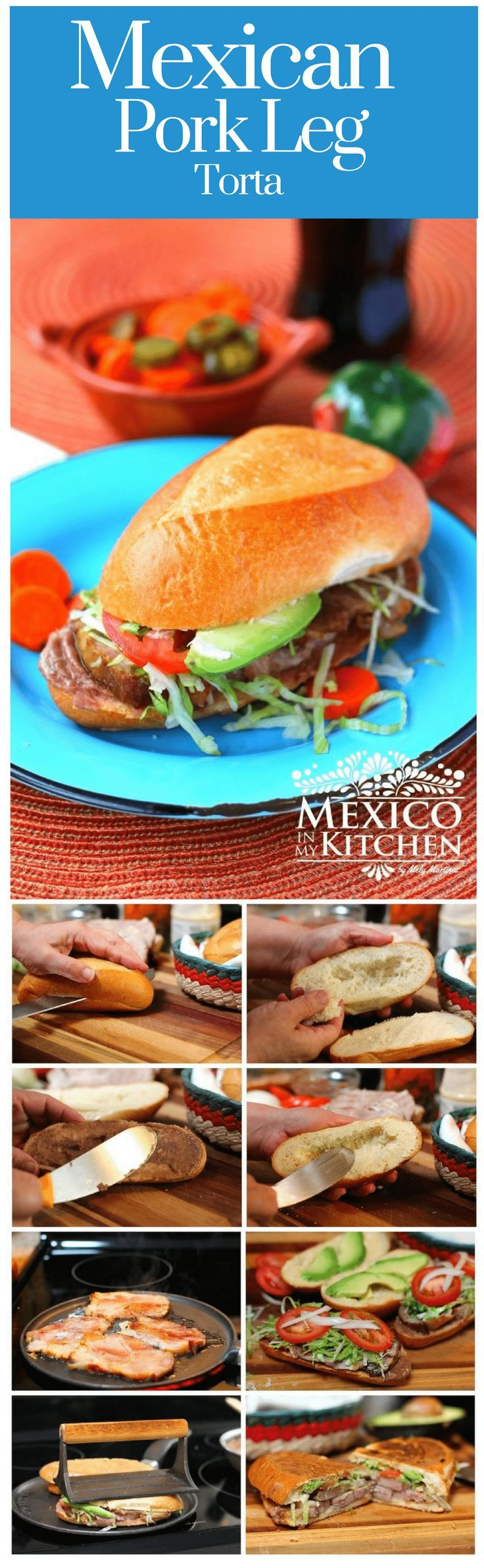 This recipe uses roasted pork leg or shoulder, so it's very common during the holidays to use the leftover pork to make this sandwich. It doesn't matter if your pork is cooked with wine or adobo, as long as it's pork, you can make this delicious torta! #mexicanrecipes #mexicancuisine #sandwich #pork