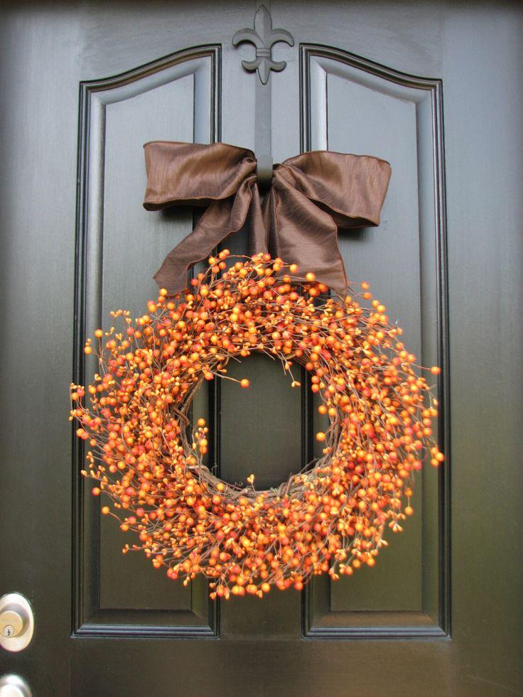 Jack O Lantern, Candy Corn, Pumpkin Orange Berry Wreath, Pumpkin Pie, Berry, Oktoberfest, Halloween Decor, Front Door Wreaths by twoinspireyou on Etsy https://www.etsy.com/listing/160937131/jack-o-lantern-candy-corn-pumpkin-orange