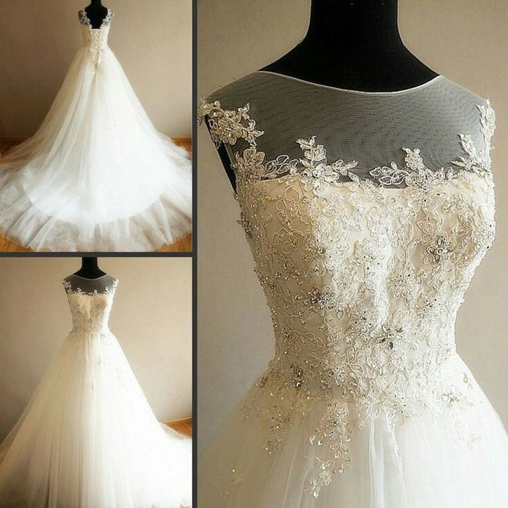 Charming Illusion Long A-line Lace Up Tulle Rhinestone Wedding Party Dresses, WD0063