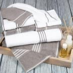 Rio Egyptian Cotton Towel Set in White and Silver (8-Piece)