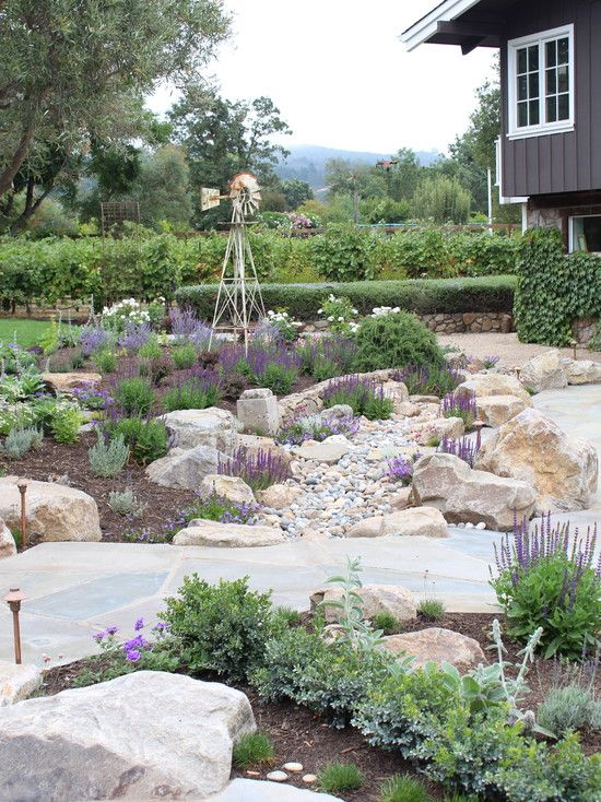 Rock Garden Designs Looks Good as Your Front Yard Landscape Ideas : Unique Mediterranean Landscape With Rock Garden Design Ideas For Your Backyard Colorful Flowers