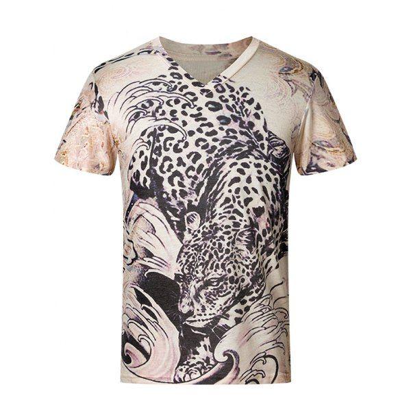 3D Leopard Pattern V-Neck Short Sleeve Plus Size Men's T-Shirt #jewelry, #women, #men, #hats, #watches, #belts, #fashion