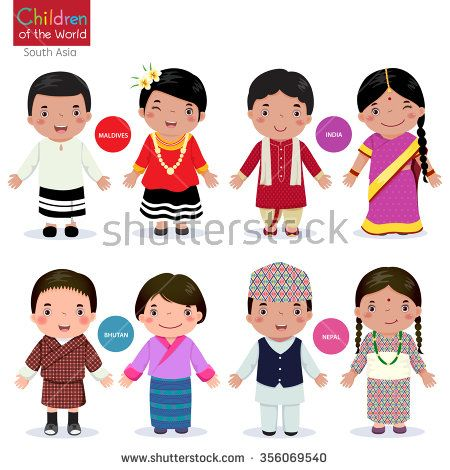 Kids in traditional costume (Maldives, India, Bhutan and Nepal)