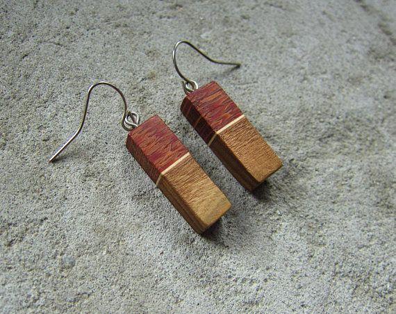 Wooden earrings naturalexotic wood rectangular earrings