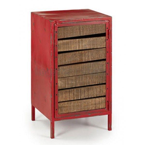 Mesa auxiliar vintage zambe de hierro rojo con una puerta - Mobiliario vintage industrial ...