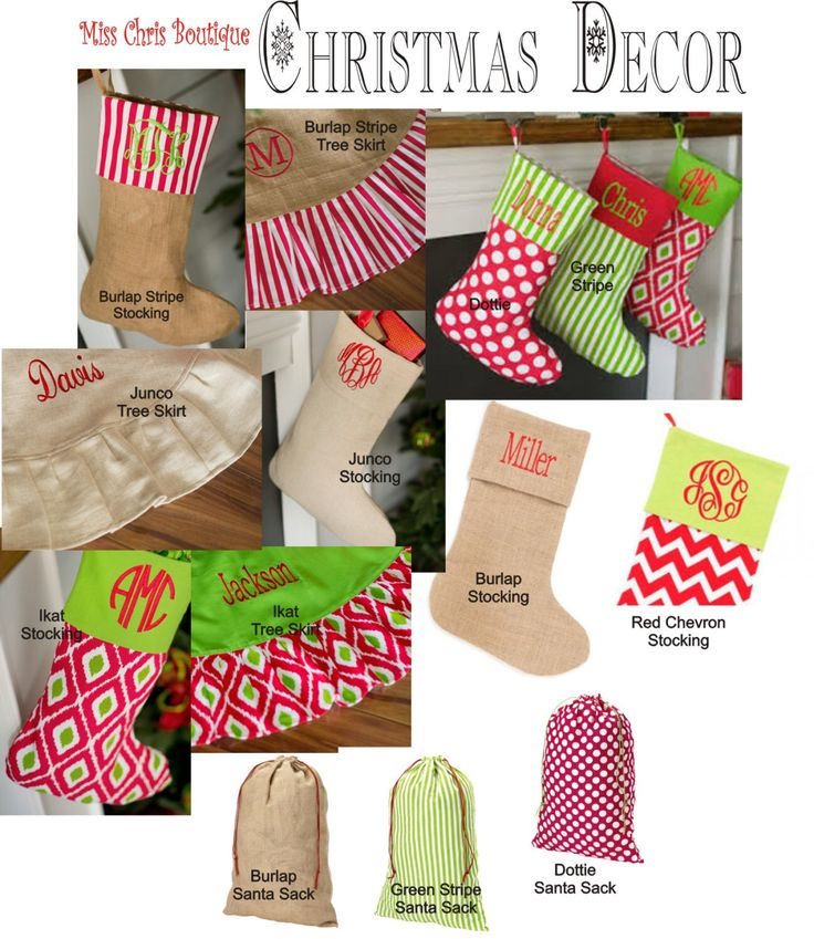 Christmas Stocking, Sale, Personalized Christmas Stockings, Christmas Tree Skirt, Embroidered Monogram Stocking, Holiday Stockings by MissChrisBoutique on Etsy https://www.etsy.com/listing/164286827/christmas-stocking-sale-personalized