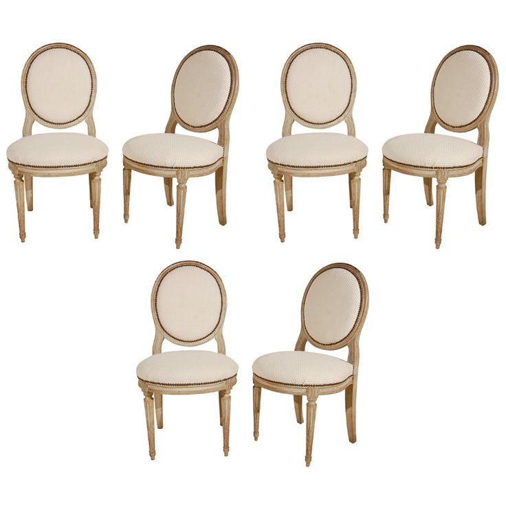 A Set Of 6 Louis XVI Carved Painted Dining Chairs