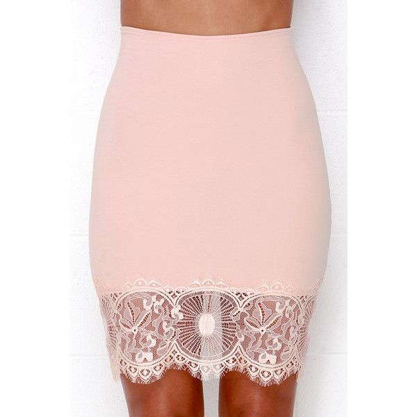 Suit Your Fancy Blush Pink Lace Skirt ($34) ❤ liked on Polyvore featuring skirts, bodycon skirt, lace skirt, see through skirt, pink skirt and sheer skirt