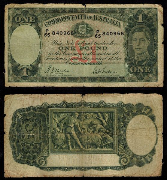 1938 Australia One Pound Banknote Pick Number 26a King George VI Very Good to Fine Currency