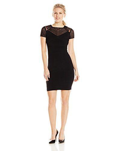 Calvin Klein Women's Petite Cap Sleeve Pin Tuck Dress with Illusion, Black - http://darrenblogs.com/2015/12/calvin-klein-womens-petite-cap-sleeve-pin-tuck-dress-with-illusion-black/