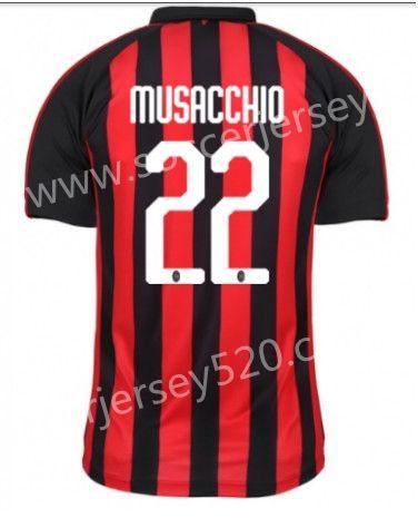 9b2087d80da 2018-19 AC Milan Home Red and Black  22 (Musacchio) Thailand Soccer ...