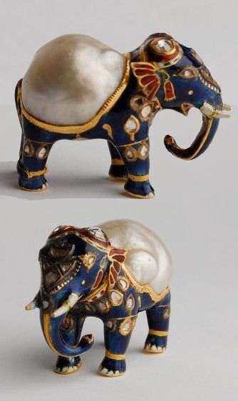Pearl AND elephant! If only the trunk was up! Gold and enamel figurine of an elephant with large natural baroque pearl forming its back and diamonds on its head. Mughal, India.