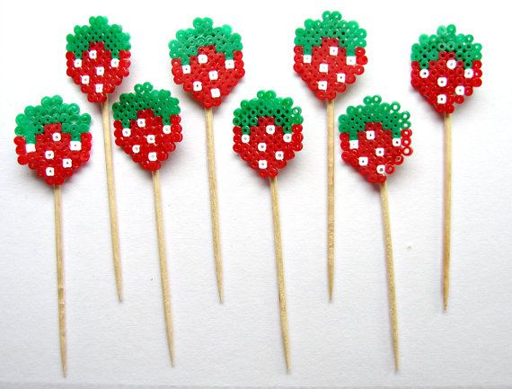 8 Red Strawberry Cupcake Toppers  wedding engagement by Pelemele, £5.50