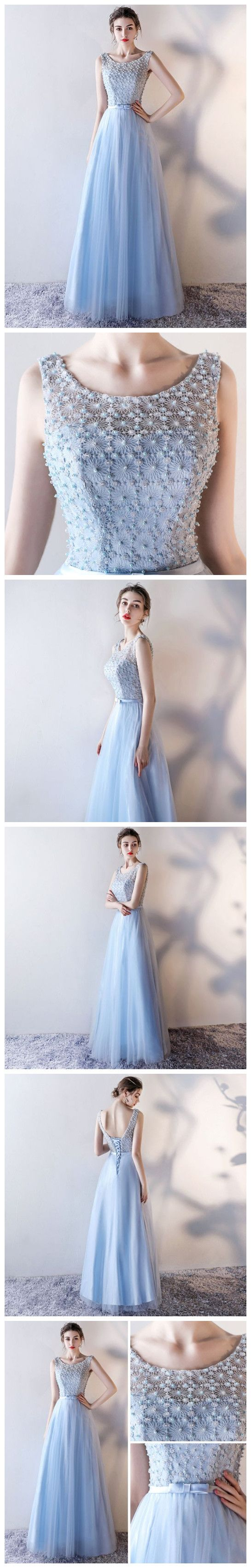 CHIC A-LINE SCOOP MODEST LIGHT SKY BLUE BEADING LONG PROM DRESS EVENING DRESS AM514  #aline #bridesmaid dress #prom dress #appliques #fashion #style #art #long #prom #party #beauty #chic #modest #love #bridal