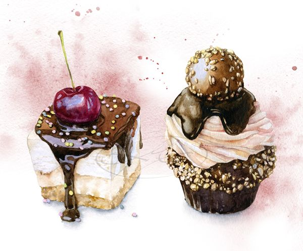 Olga Moskaleva #aquarela #cupcake