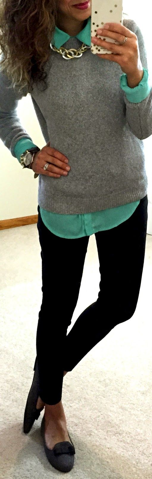 Really like the blouse/sweater/necklace look and cute with black pants for work (but nothing a fan of the mint color)