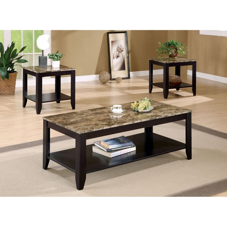 Coaster Furniture 3 Piece Coffee Table Set with Faux Marble Top - 700155