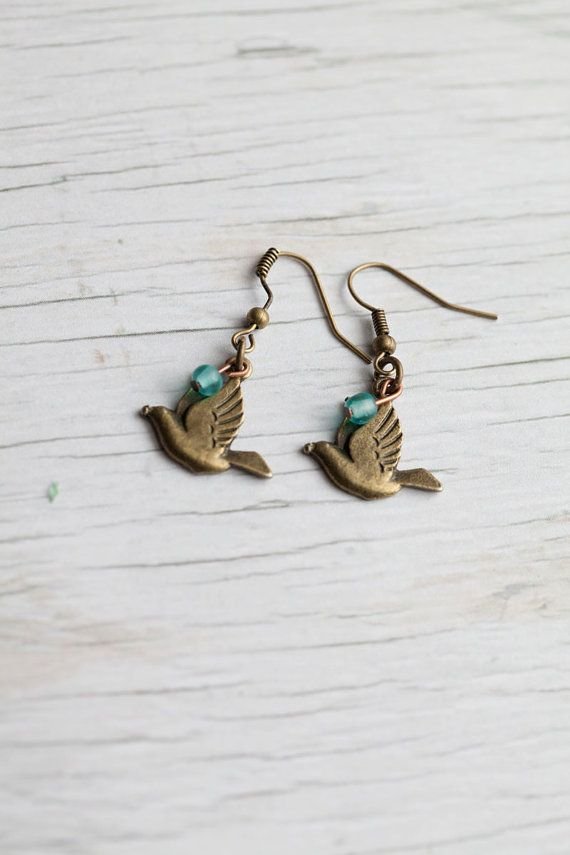 Dove Earrings: Stylish Accessories, Dove Earrings, Turquoise Earrings, Antique Brass, Earrings Turquoise, Antiques Brass, Bird Earrings, Birds Earrings, Dove Turquoise