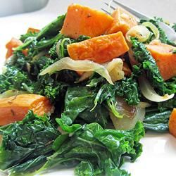 "Roasted Yam and Kale Salad | ""Delicious salad. Great way to combine two super foods and the sweetness of the yams really provides nice balance to the kale flavor. Everyone that tried it loved it. Thanks for the great recipe!""	http://allrecipes.com/recipe/roasted-yam-and-kale-salad/Detail.aspx"