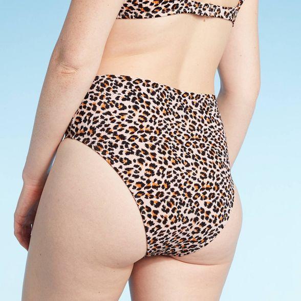 Xhilaration Womens Snake Print Ribbed Cheeky High Leg Waist Bikini Bottom