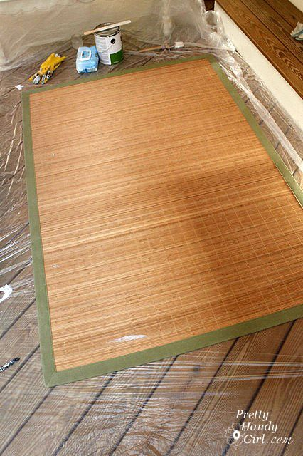 How to paint a Bamboo Rug:  http://www.prettyhandygirl.com/2011/06/painting-a-bamboo-rug.html