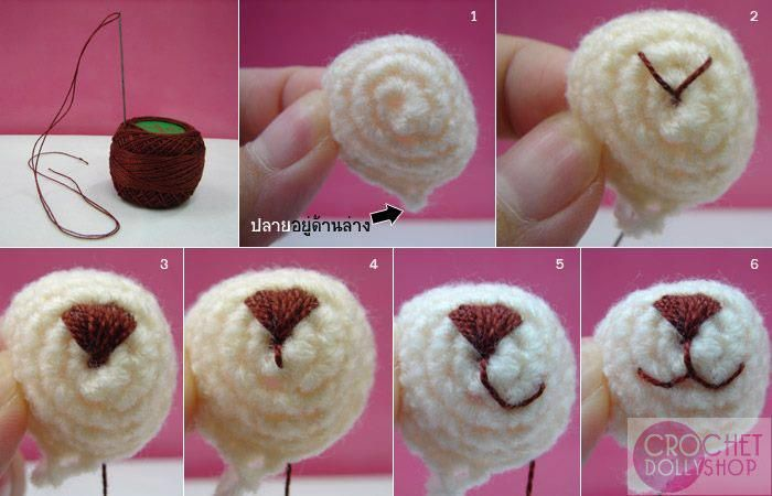Nose and mouth embroidery step-by-step Crochet ...