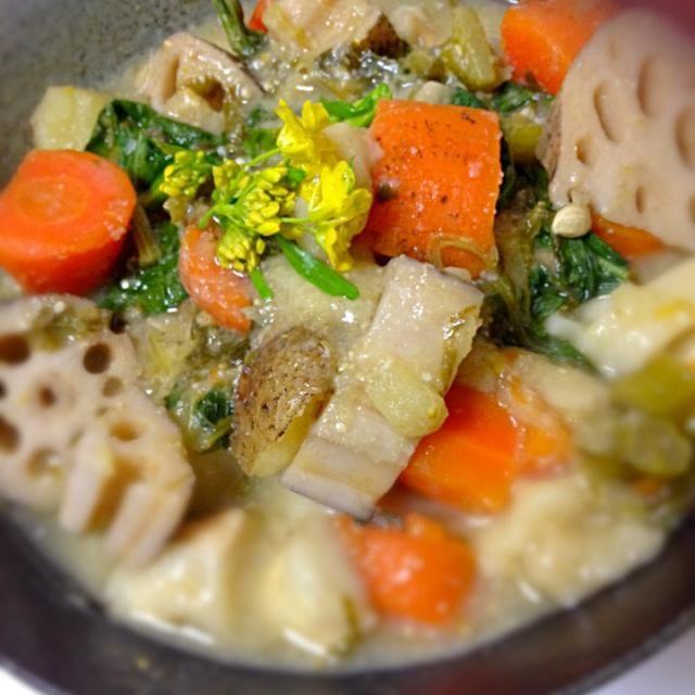 寒いときにはあったかいうどんが美味しいですね^_^ 山梨名物のほうとう、という平たいうどんを使った味噌味の煮込みうどんです★ ビーガン、動物成分ゼロごはん。 - 7件のもぐもぐ - 山梨名物、ほうとう 味噌煮込みうどん by japananimal28
