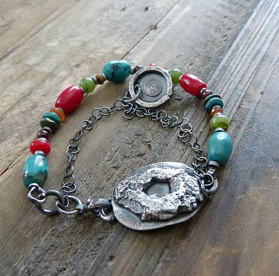 Multi Gemstone Bracelet and Sterling Silver  Boho by COTELLE