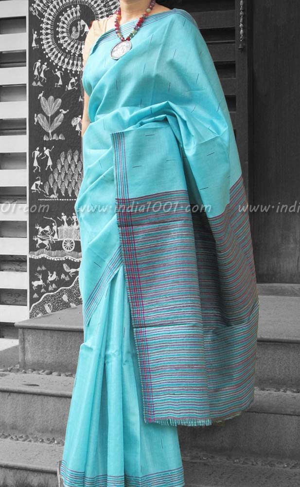 Stunning Woven Tussar Silk Saree | India1001.com