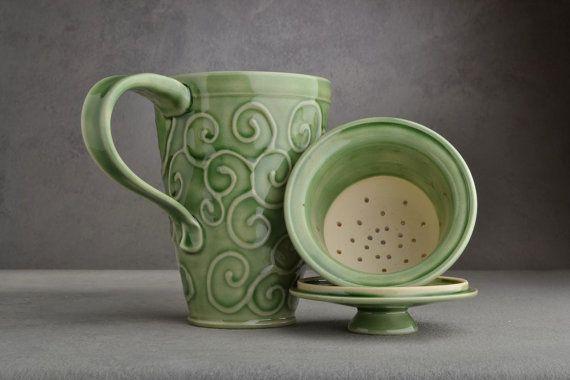 Lidded Tea Mug: Celadon Stoneware Tea Mug with Lid and Infuser by Symmetrical Pottery on Etsy, Sold