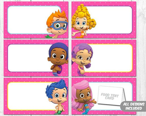 Bubble Guppies Food Tent, Bubble Guppies Food Label, Personalized Bubble Guppies Tent Cards, Bubble Guppies Printable – PDF