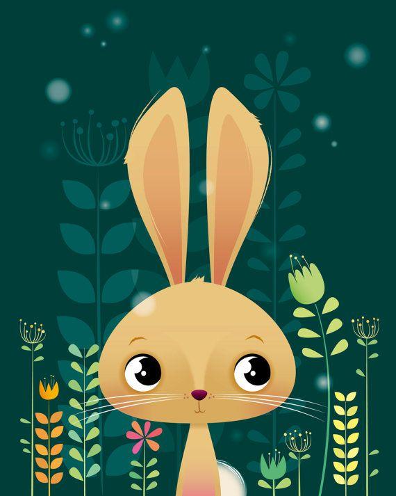 Arte animal de bosque vivero de conejito por IreneGoughPrints