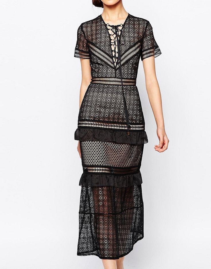 Image 3 ofSelf Portrait Laceup Peplum Midi Dress