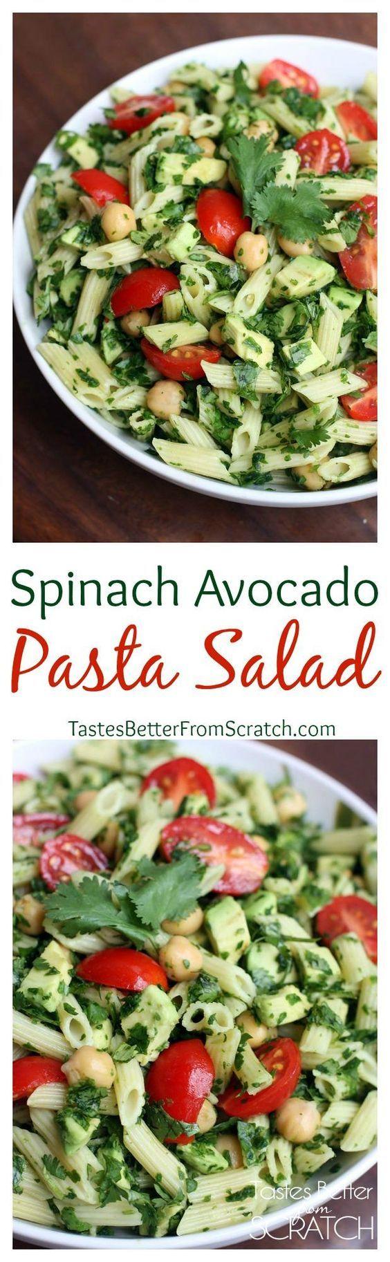 Spinach Avocado Pasta Salad on TastesBetterFromScratch.com