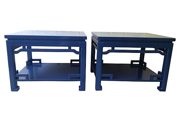 Cobalt lacquered ming style tables pair table talk one kings lane things to wear