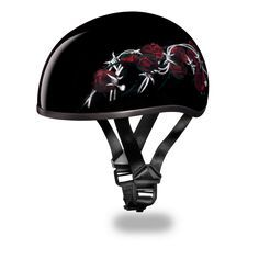 Daytona Red Rose & Barbwire Womens DOT Skull Cap Motorcycle Helmet comes in a solid black gloss color with a baked in red rose and barbwire design being a lightweight DOT skull cap motorcycle helmet. The moisture wicking fabric keeps head cooler and more comfortable in a low profile style for women motorcycle riders.