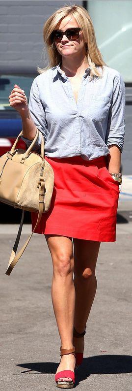 Reese Witherspoon: Purse – Saint Laurent  Shoes – Pierre Hardy  Bracelet – Celine  Sunglasses – Stella McCartney