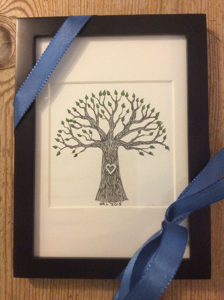 Tree with green leaves, 8x8 cm, hand drawn Zentangle framed with gift ribbon. Copyright 2015 Sandy Rosenvinge Lundbye.