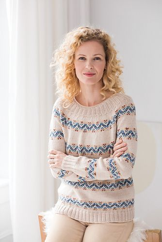 The designer, a native of Denmark, streamlined the exquisite construction of this pullover's yoke with German short-row shaping. Stripes of colorwork circle the body and sleeves, which are knit separately and then joined to work the yoke. Knit in Plymouth Yarn's DK Merino Superwash.