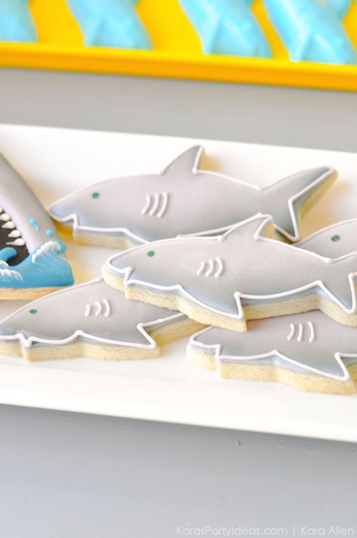 Shark cookies at a Jawesome shark themed birthday party by Kara Allen