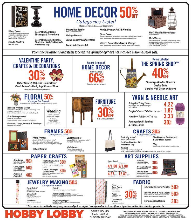 Hobby Lobby Weekly Ad 22 - 28 January 2017 - http://www.olcatalog.com/grocery/hobby-lobby-weekly-ad.html