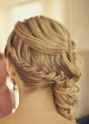 Bridesmaid braided updo for Liz wedding? Wish I could see the front!