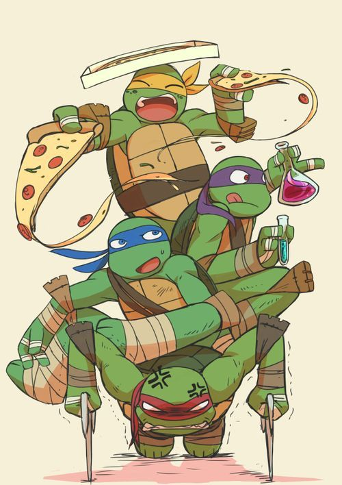 Miche is eating pizza,donney is making a formula,Leo is just sitting there,and raph is holing them all up!
