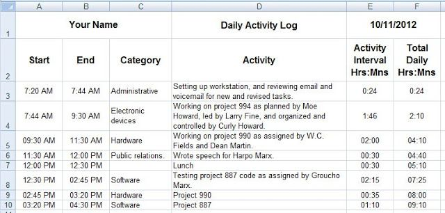 Creating daily activity logs through MS Excel