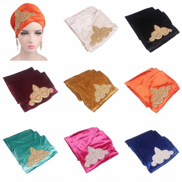 Women Rhinestone Velvet Turban Wrap Head Tube Scarf Arab Hijab Long Tail Cap Hat