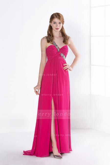 BEADING SPLIT ONE SHOULDER LONG CHIFFON PROM DRESS